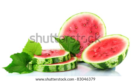ripe sliced watermelon isolated on white - stock photo