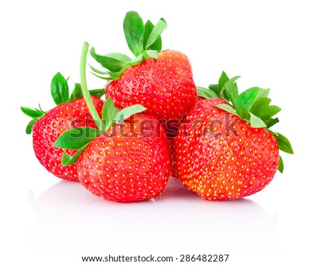 Ripe strawberries isolated on a white background - stock photo