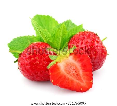 Ripe strawberries isolated on white - stock photo