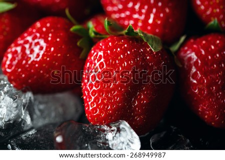 Ripe strawberry on ice. Dark background. Close up. Selective focus. - stock photo