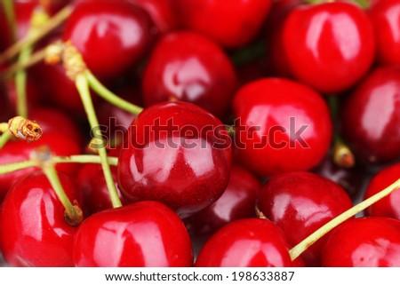 Ripe sweet cherries, close up - stock photo
