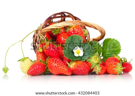 Ripe sweet strawberries in the wicker basket isolated on white background - stock photo