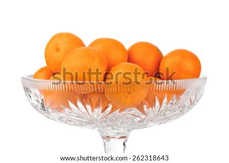 Ripe tangerine or mandarin fruit isolated on white background - stock photo
