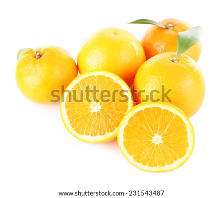 Ripe tangerines and oranges with leaves isolated on white - stock photo