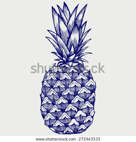 Ripe tasty pineapple. Doodle style. Raster version - stock photo
