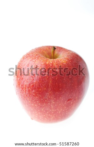 Ripe tasty red apple  isolated on white - stock photo