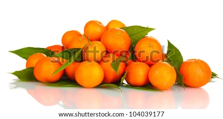 Ripe tasty tangerines with leaves isolated on white - stock photo