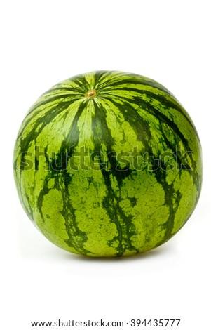 ripe tasty watermelon isolated on white - stock photo