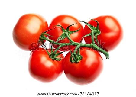 ripe tomato isolated on white - stock photo