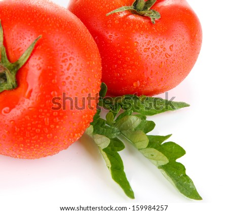 Ripe tomatoes isolated on white  - stock photo