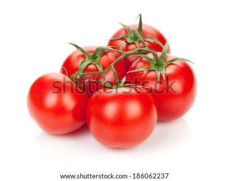 Ripe tomatoes. Isolated on white background - stock photo