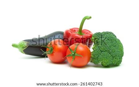 Ripe vegetables isolated on white background close-up. horizontal photo. - stock photo