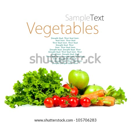 ripe vegetables isolated on white background with sample text - stock photo