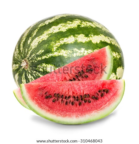 ripe watermelon with slices close-up isolated on a white background - stock photo
