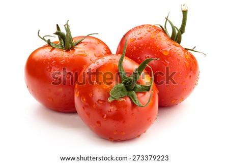 Ripe wet tomatoes isolated on white background. - stock photo