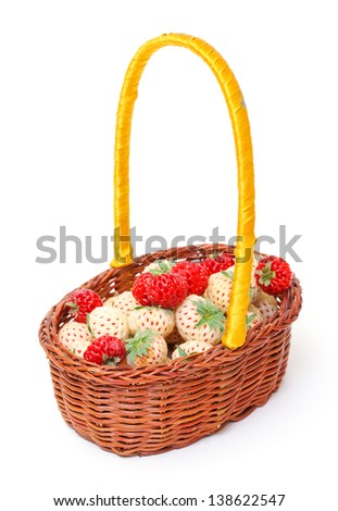 Ripe White and Red Strawberries in basket, on white background - stock photo