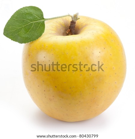 Ripe yellow apple with one leaf. Isolated on  white background. - stock photo