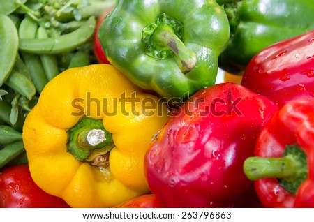 Ripe Yellow, Red and Green Peppers in Vegetables Market - stock photo