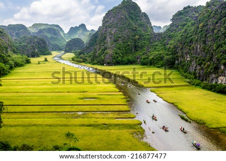 Ripen rice strips on both sides of a stream inside Tam Coc Natural Reserve, Ninh Binh pro., Vietnam. This location is famous for tourism for its natural beauty with mountains, streams & paddy fields. - stock photo