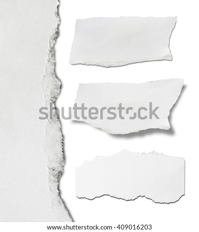 Ripped black paper, copy space on white - stock photo