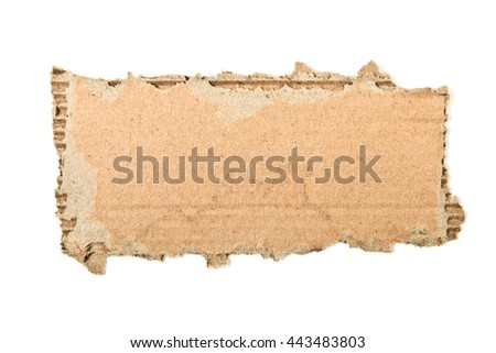 ripped cardboard piece isolated on white - stock photo