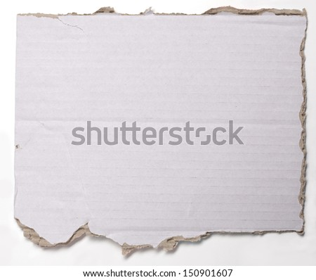 ripped  crumpled piece of cardboard isolated on white. - stock photo