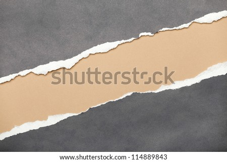Ripped grey paper with milky space for your message - stock photo