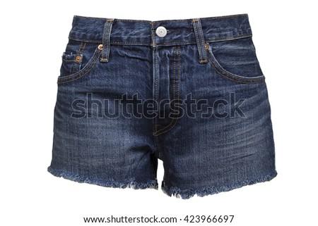 Ripped handmade jeans shorts - stock photo