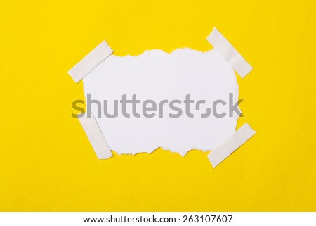 ripped of paper with pin  - stock photo