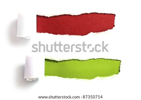 ripped paper with red and green background - stock photo