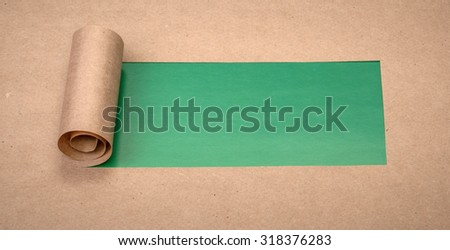 Ripped paper with space for text with green background - stock photo