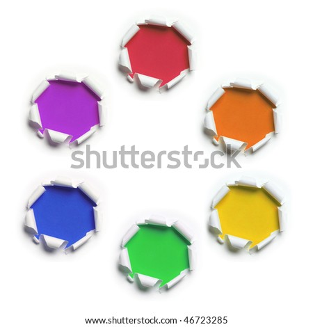 ripped white paper against primary and secondary colors backgrounds - stock photo