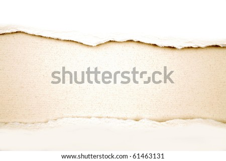 Ripped white paper on brown background. Copy space for advertising message - stock photo