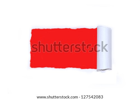 Ripped white paper over red - stock photo