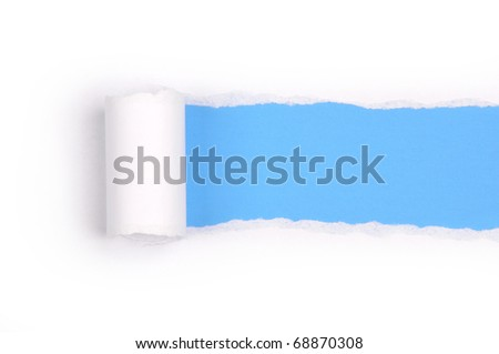Ripper paper with space for text with blue background - stock photo