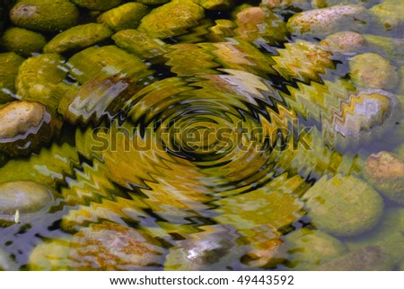 ripple clear water in pond - stock photo