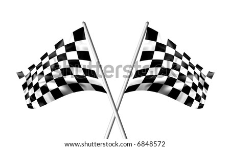 Rippled black and white chequered flag - stock photo