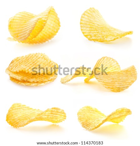 Rippled potato chips isolated on white background - stock photo