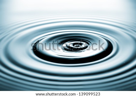 ripples from falling drops - stock photo