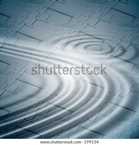 Ripples over keyboards background for aqua set.Find more matching elements in my gallery . - stock photo