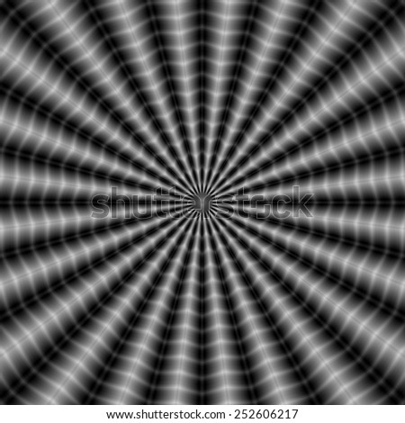 Rippling Rays in Monochrome / A digital abstract fractal image with an optically challenging rippling ray design in black and white. - stock photo