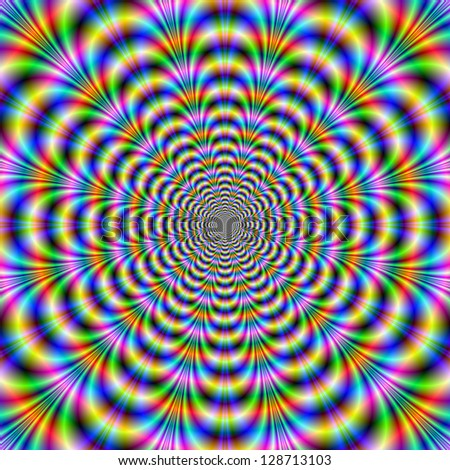 Rippling Rings / Digital abstract image with a geometric fractal design in blue, green, red and yellow. - stock photo
