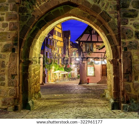 Riquewihr, Alsace, France - stock photo