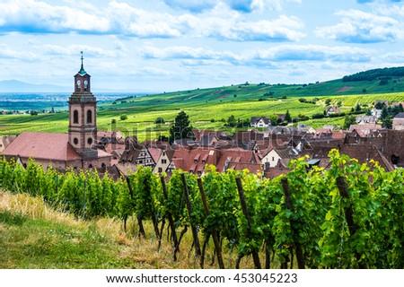 Riquewihr village on sunset, Alsace, France - stock photo