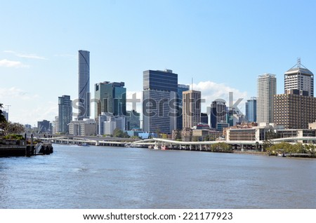 RISBANE, AUS - SEP 24 2014: Brisbane Skyline. Brisbane is the third largest capital city by geographic area in the world, occupying some 1,140km2 - stock photo