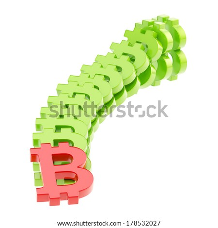 Rise and and fall of peer-to-peer crypto currency as a bitcoin signs falling down as a domino effect, composition isolated over white background - stock photo