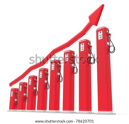 Rise in gas price: petrol pumps chart with red graph isolated on white - stock photo