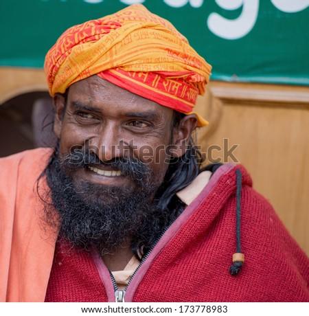 Rishikesh, India - November 5, 2012: an identified sadhu (holy man) poising on November 5, 2012 in Rishikesh.  - stock photo