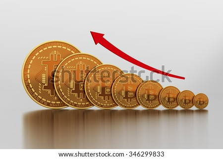 Rising Cost Of Bitcoin. 3D Scene. - stock photo
