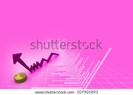 Rising graph with dollar - stock photo